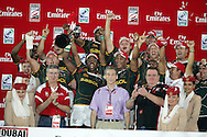 South Africa celebrate their 19-12  cup final win.IRB Emirates airline Dubai sevens 2008.cup  final match action between  South Africa and England  at the Sevens Stadium in Dubai on Sat 29th November 2008..pic by Andrew Orchard.  Andrew Orchard sports photography, tel 07974 069 129