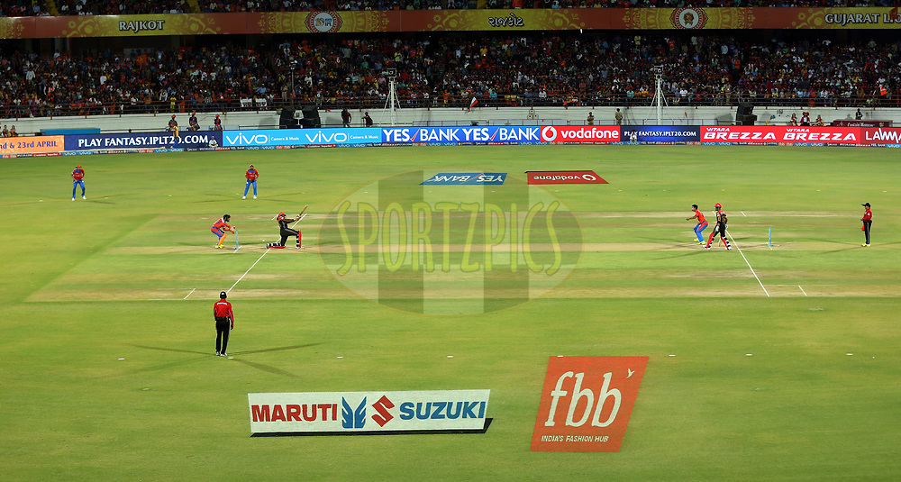 General view of the ground during match 20 of the Vivo 2017 Indian Premier League between the Gujarat Lions and the Royal Challengers Bangalore  held at the Saurashtra Cricket Association Stadium in Rajkot, India on the 18th April 2017<br /> <br /> Photo by Sandeep Shetty - Sportzpics - IPL