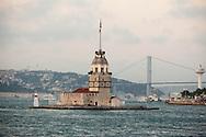 Turkey. Istambul. ferry BOATS  on Bosphorus; Maiden's Tower - Kiz Kulesi - Tower of Leandros - islet and lighthouse in the Bosphorus, near Üsküdar