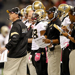 October 23, 2011; New Orleans, LA, USA; New Orleans Saints offensive coordinator Pete Carmichael Jr. on the sidelines during the first quarter of a game against the Indianapolis Colts at the Mercedes-Benz Superdome. Mandatory Credit: Derick E. Hingle-US PRESSWIRE / © Derick E. Hingle 2011