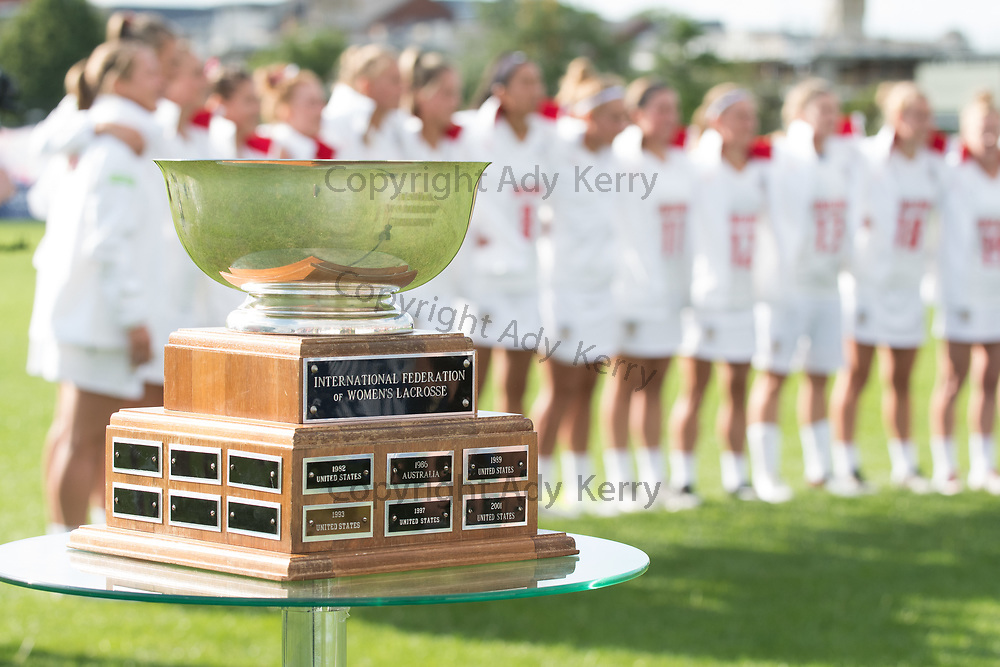 The World Cup trophy at the opening game of the 2017 FIL Rathbones Women's Lacrosse World Cup at Surrey Sports Park, Guilford, Surrey, UK, 15th July 2017