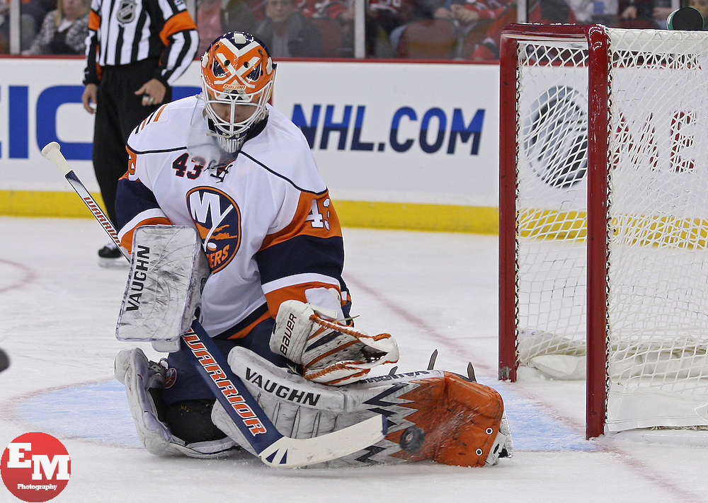 Apr 10, 2010; Newark, NJ, USA; New York Islanders goalie Martin Biron (43) makes a pad save during the first period at the Prudential Center.