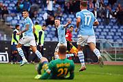 Joaquin Correa of Lazio celebrates after scoring 1-0 goal during the Italian championship Serie A football match between SS Lazio and US Lecce Sunday, Nov. 10, 2019 at the Stadio Olimpico in Rome. SS Lazio defeated US Lecce 4-2. (Federico Proietti/Image of Sport)