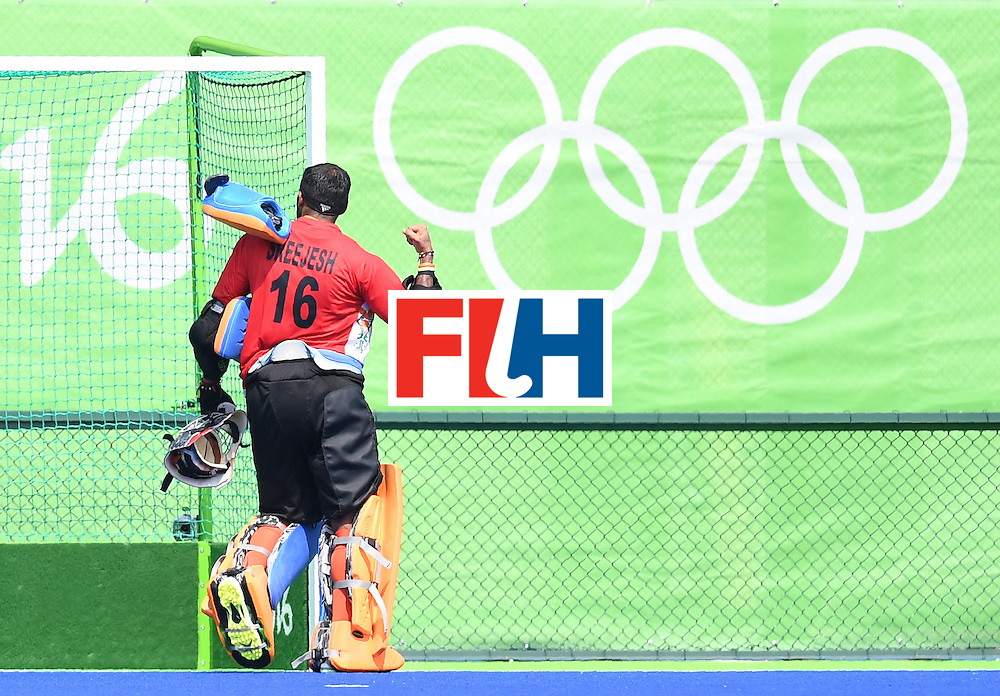 India's Sreejesh Parattu celebrates winning after the men's field hockey Argentina vs India match of the Rio 2016 Olympics Games at the Olympic Hockey Centre in Rio de Janeiro on August, 9 2016. / AFP / MANAN VATSYAYANA        (Photo credit should read MANAN VATSYAYANA/AFP/Getty Images)