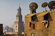 Egypt. Cairo elevated view.  - minaret of BARQUQ mosque View from the rooftop of the wakala Bazara traditional house and caravanserail after restauration . in Gamalyyah.  islamic Cairo     NM398  CAIR060