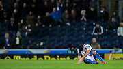 Ben Marshall (Blackburn Wanderers) is down while Rotherham continue to attack - much to the displeasure of the home fans during the Sky Bet Championship match between Blackburn Rovers and Rotherham United at Ewood Park, Blackburn, England on 11 December 2015. Photo by Mark P Doherty.