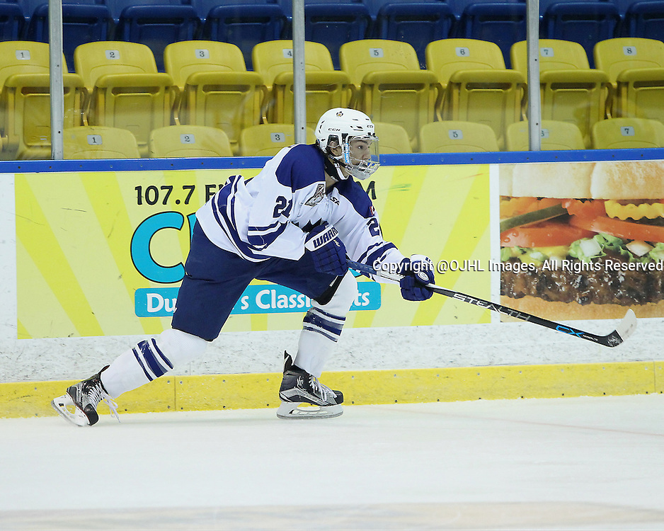 WHITBY, ON - Sep 15, 2015 : Ontario Junior Hockey League game action between Markham and Whitby. Khayden Butterfly #21 of the Markham Royals shoots the puck during the first period.<br /> (Photo by Tim Bates / OJHL Images)