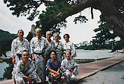 senior group outside posing during an Onsen visit
