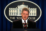 U.S. President Bill Clinton during a press conference in the White House briefing room July 27, 1996 in Washington, DC.