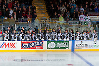 KELOWNA, CANADA - NOVEMBER 21: The Vancouver Giants stand on the bench during the national anthem against the Kelowna Rockets on November 21, 2015 at Prospera Place in Kelowna, British Columbia, Canada.  (Photo by Marissa Baecker/Shoot the Breeze)  *** Local Caption ***
