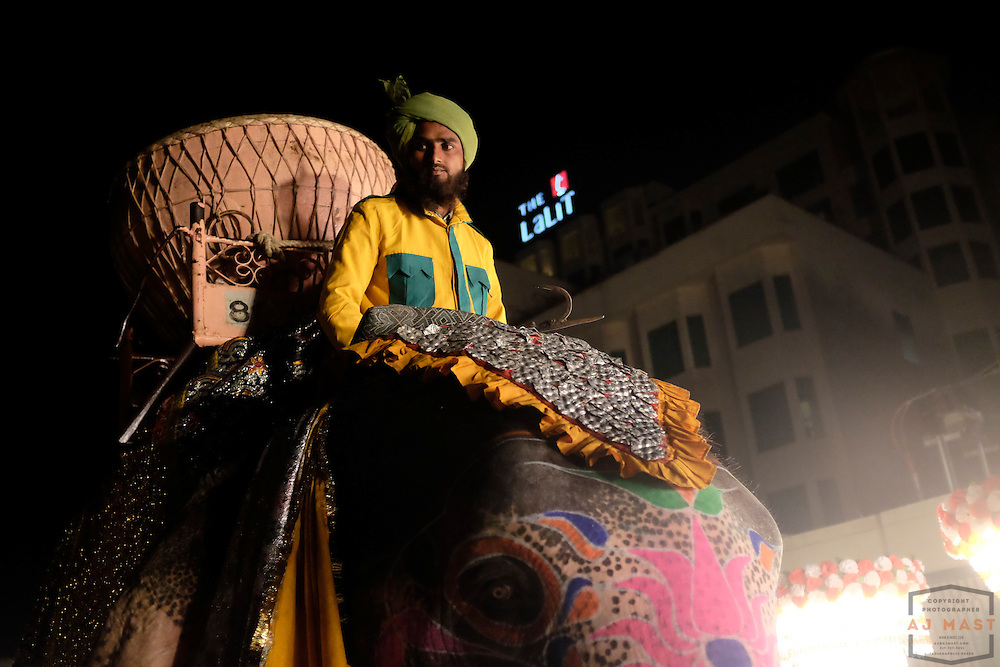 An elephant participates in a wedding ceremony in Jaipur, India, Sunday, Nov. 22, 2015. (AJ Mast)