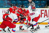 KAMLOOPS, CANADA - NOVEMBER 5:  Jordy Bellerive #15 of Team WHL checks Artyom Galimov #9 of Team Russia on November 5, 2018 at Sandman Centre in Kamloops, British Columbia, Canada.  (Photo by Marissa Baecker/Shoot the Breeze)