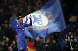 Chelsea's Callum Hudson-Odoi applauds fans after the game during the UEFA Europa League round of 32 second leg match at Stamford Bridge, London.