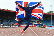 Mo Farah of Great Britain celebrates with a jump after winning his last track race in the UK during the Muller Grand Prix Birmingham 2017 at the Alexander Stadium, Birmingham, United Kingdom on 20 August 2017. Photo by Martin Cole.