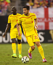 CHARLOTTE, USA - Saturday, August 2, 2014: Liverpool's Emre Can in action against AC Milan during the International Champions Cup Group B match at the Bank of America Stadium on day thirteen of the club's USA Tour. (Pic by Mark Davison/Propaganda)