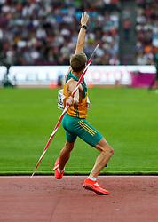 London, August 12 2017 . Cedric Dubler, Australia, the men's decathlon javelin on day nine of the IAAF London 2017 world Championships at the London Stadium. © Paul Davey.