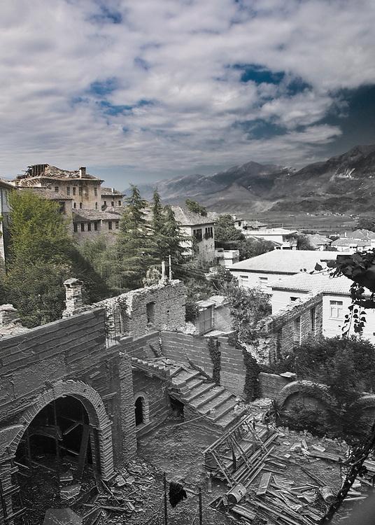 rebuilding damaged houses in Gjirokastra Albania