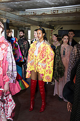 Pictured: Model's in Roxy Music cover mode<br /> Cowboys, falconry and gang culture provided some of the inspiration for University of Edinburgh fashion students, whose work will be displayed between May 18 and 20 this year<br /> <br /> Ger Harley | EEm 19 April 2016
