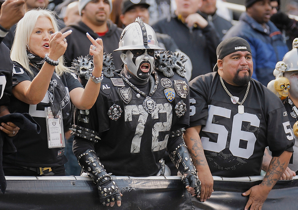 December 16 2012 During the NFL Football Game Between Kansas City Chiefs  vs  Oakland Raiders,Fans From The Black Hole at O.co Coliseum Stadium Oakland Calif