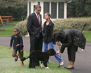 The Obama's play with BO, the First Dog, on the South Lawn of the White House. Photo by Dennis Brack