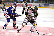 Daniel Kissel of Stavanger and Joachim Nermark of Sparta during the Terminliste Get-Ligean match between Stavenger Oilers and Sparta at DNB Arena, Stavanger, Norway on 15 September 2016. Photo by Andrew Halseid-Budd.