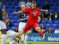 Photo: Paul Greenwood.<br />Stockport County v Cardiff City. Coca Cola Championship. Pre Season Friendly. 28/07/2007.<br />An acrobatic move from Cardiff's Warren Feeney in the box