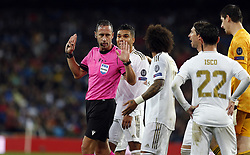 Real Madrid protest referee during UEFA Champions League match, groups between Real Madrid and Paris Saint Germain at Santiago Bernabeu Stadium in Madrid, Spain. November, Tuesday 26, 2019. Photo by Manu R.B./AlterPhotos/ABACAPRESS.COM
