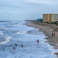 General view of Nags Head beach looking south from Jennette's Pier in the Outer Banks, North Carolina, USA