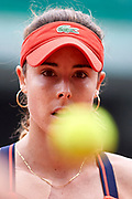 Paris, France - 2017 June 03: Alize Cornet from France  looks at the ball during women's single match third round  during tennis Grand Slam tournament The French Open 2017 (also called Roland Garros) at Stade Roland Garros on June 03, 2017 in Paris, France.<br /> <br /> Mandatory credit:<br /> Photo by &copy; Adam Nurkiewicz<br /> <br /> Adam Nurkiewicz declares that he has no rights to the image of people at the photographs of his authorship.<br /> <br /> Picture also available in RAW (NEF) or TIFF format on special request.<br /> <br /> Any editorial, commercial or promotional use requires written permission from the author of image.