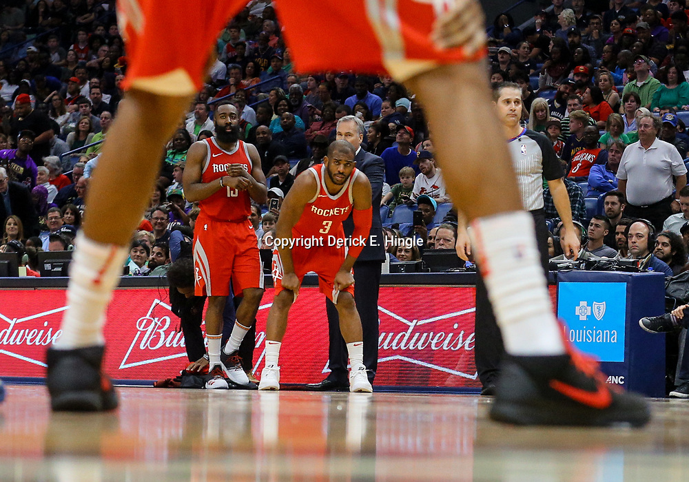 Mar 17, 2018; New Orleans, LA, USA; Houston Rockets guard James Harden (13) and guard Chris Paul (3) during the second half against the New Orleans Pelicans at the Smoothie King Center. The Rockets defeated the Pelicans 107-101. Mandatory Credit: Derick E. Hingle-USA TODAY Sports