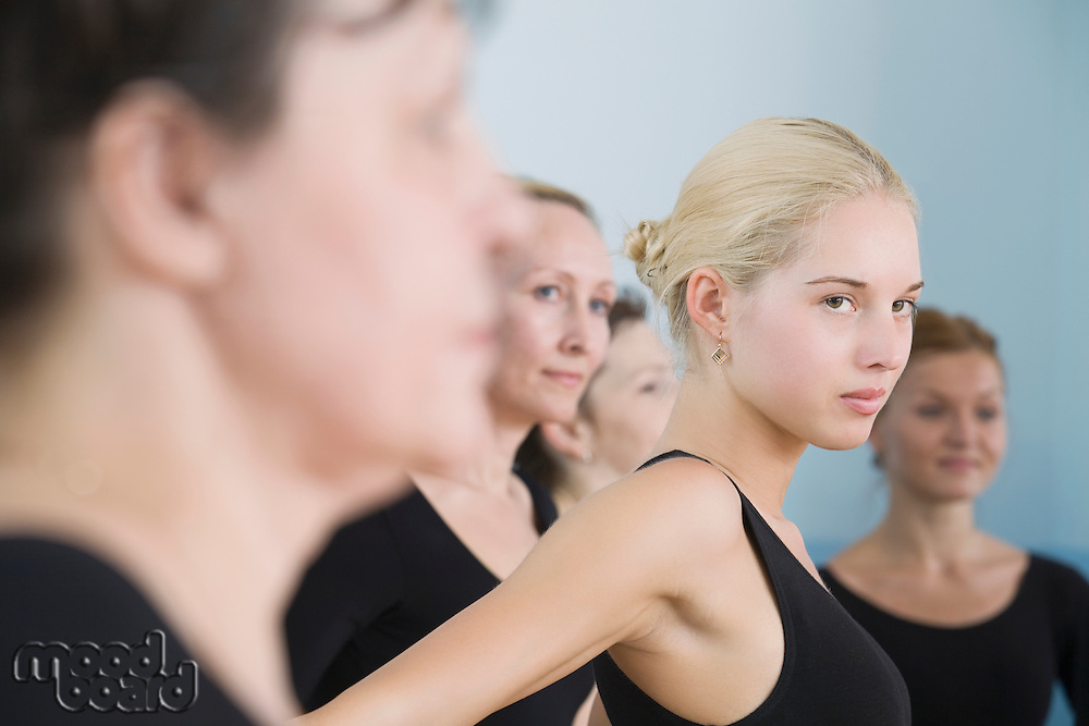 Young women in ballet rehearsal