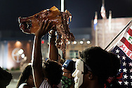 A protester holds the severed head of a roasted pig in front of the Ferguson police station. Written on the side of the (now missing) body was the name Darren Wilson. Hundreds of protesters took to the streets on the eve of the one year anniversary of Michael Brown Jr.'s death.