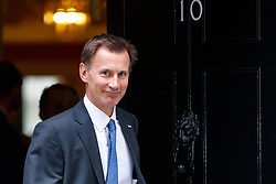 © Licensed to London News Pictures. 11/07/2017. London, UK. Health Secretary JEREMY HUNT leaves after a cabinet meeting in Downing Street, London on Tuesday, 11 July 2017. Photo credit: Tolga Akmen/LNP
