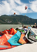 Kite Boarders at the Squamish Spit.  Squamish BC, Canada.