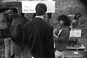 Food stall queue, Notting Hill Carnival, London, 1989