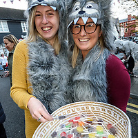 REPRO FREE<br /> Viv Maher and Jennifer Crosbie from Fat Face handing out treats at this years Kinsale Halloween parade.<br /> Picture. John Allen