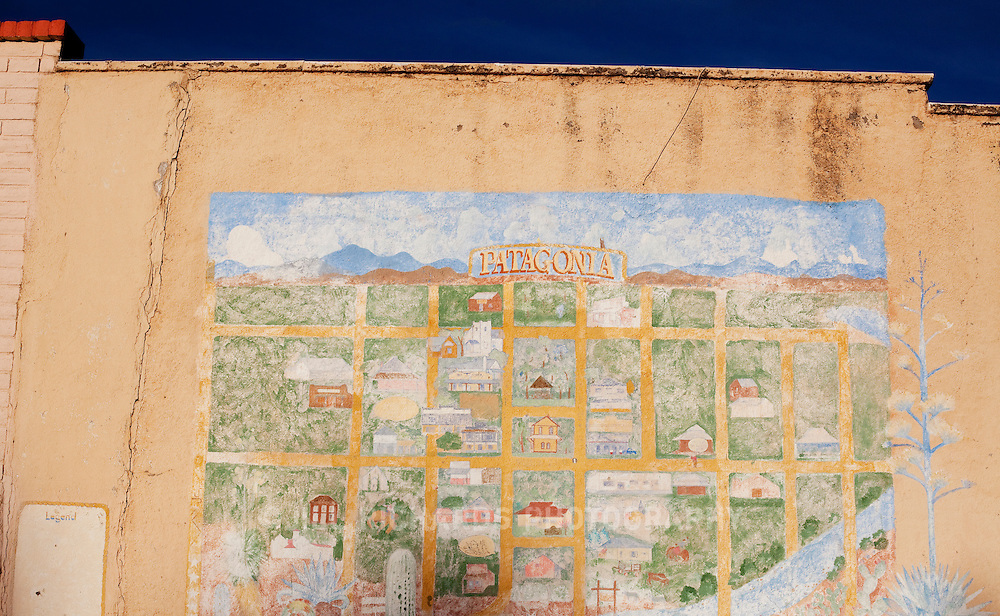 A painted map of the small town of Patagonia is painted on the side of a building along its main street. Located in Southern Arizona, Patagonia is known for its birding and wineries.