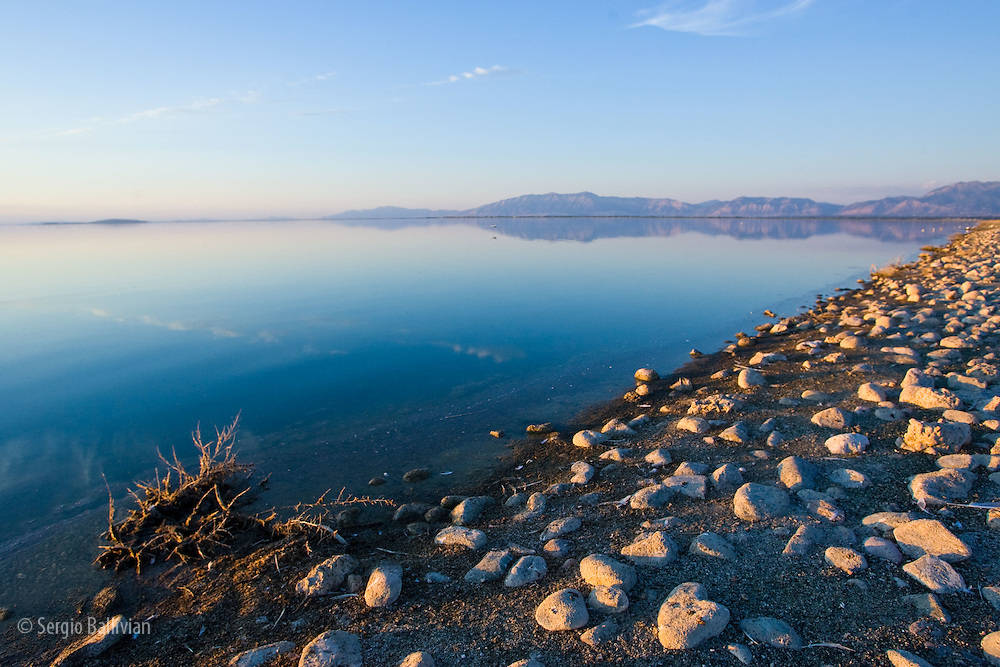 Sunset on the rocky coast of the Great Salt Lake near Salt Lake City, UT