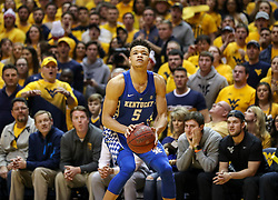 Jan 27, 2018; Morgantown, WV, USA; Kentucky Wildcats forward Kevin Knox (5) shoots a three pointer during the first half against the West Virginia Mountaineers at WVU Coliseum. Mandatory Credit: Ben Queen-USA TODAY Sports