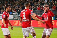 ALKMAAR - 26-09-2015, AZ - Heracles Almelo, AFAS Stadion, 3-1, AZ speler Jeffrey Gouweleeuw (m) heeft de 2-0 gescoord, AZ speler Muamer Tankovic (r), AZ speler Joris van Overeem.