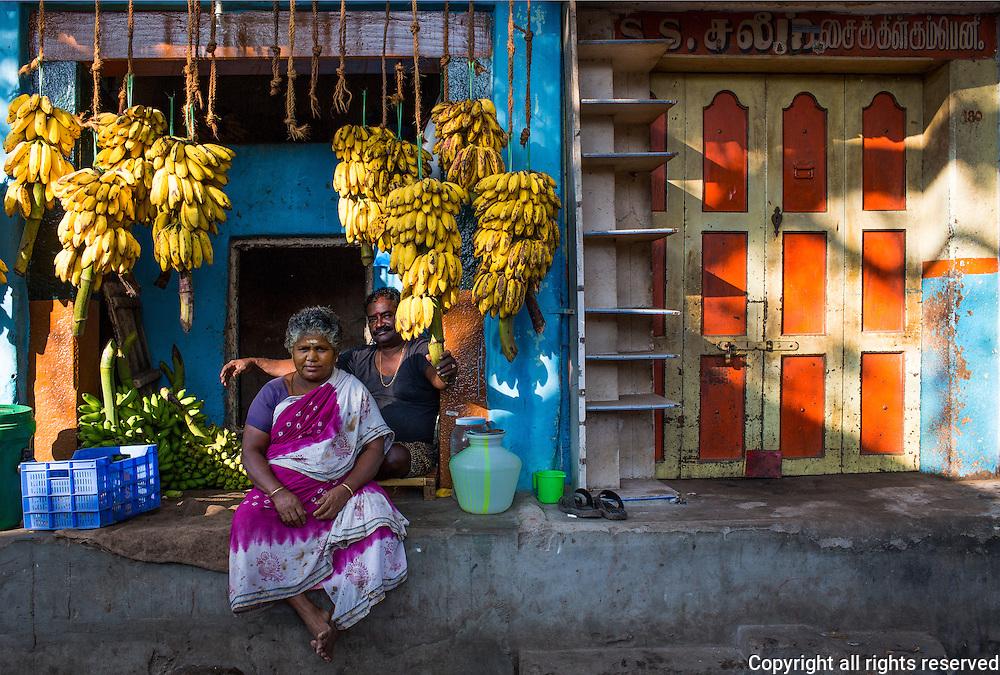 Banana dealers in Madurai morning market, Tamil Nadu, India