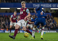 Football - 2019 / 2020 Premier League - Chelsea vs. Burnley<br /> <br /> Mason Mount (Chelsea FC) sees his shot blocked by Ben Mee (Burnley FC) at Stamford Bridge <br /> <br /> COLORSPORT/DANIEL BEARHAM