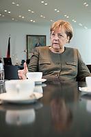 13 SEP 2017, BERLIN/GERMANY:<br /> Angela Merkel, CDU, Bundeskanzlerin, waehrend einem Interview, in Ihrem Buero, Bundeskanzlerin<br /> IMAGE: 20170917-01-001<br /> KEYWORDS: B&uuml;ro