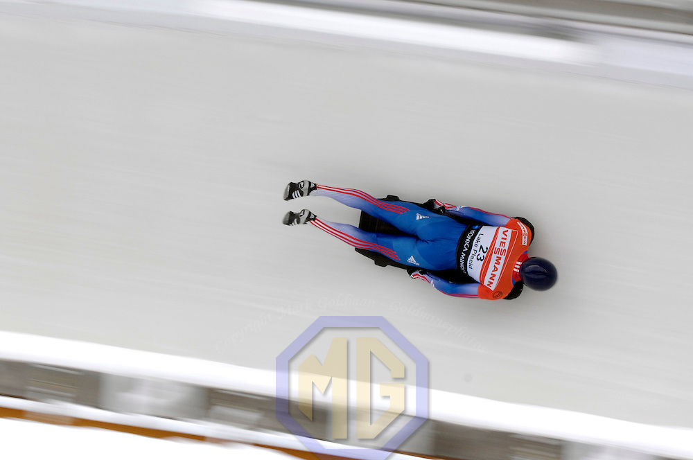 14 December 2007:  Sergei Chudinov of Russia competes at the FIBT World Cup Men's skeleton competition on December 14, 2007 at the Olympic Sports Complex in Lake Placid, NY.  The race was won by Eric Bernotas of the United States.