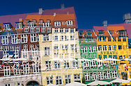 A colorful shot of Tourist destination Nyhavn with its colorful and distinctive architecture.