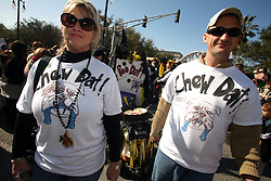 07 February 2010. New Orleans, Louisiana, USA. <br /> Super Bowl XL1V. <br /> Karen Boudrie and Scot Creig. New Orleans Saints fans gather in the French Quarter in anticipation of the big game in Miami later in the day as the home team goes head to head with the Indianapolis Colts for Super Bowl 44. <br /> Photo ©; Charlie Varley/varleypix.com