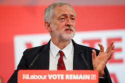 © Licensed to London News Pictures. 02/06/2016. London, UK. Leader of the Labour Party, JEREMY CORBYN delivers an address on the EU in central London, ahead of the EU referendum on June 23rd, 2016.  Photo credit: Tolga Akmen/LNP