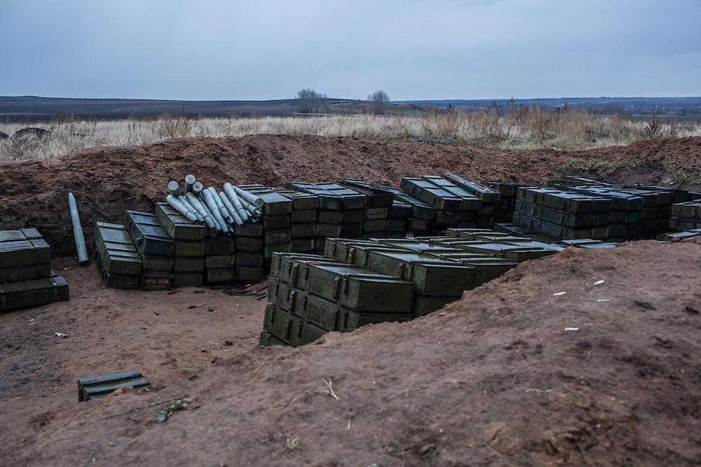 A Ukrainian army artillery cache on Monday, December 14, 2015 near Slovyansk, Ukraine.