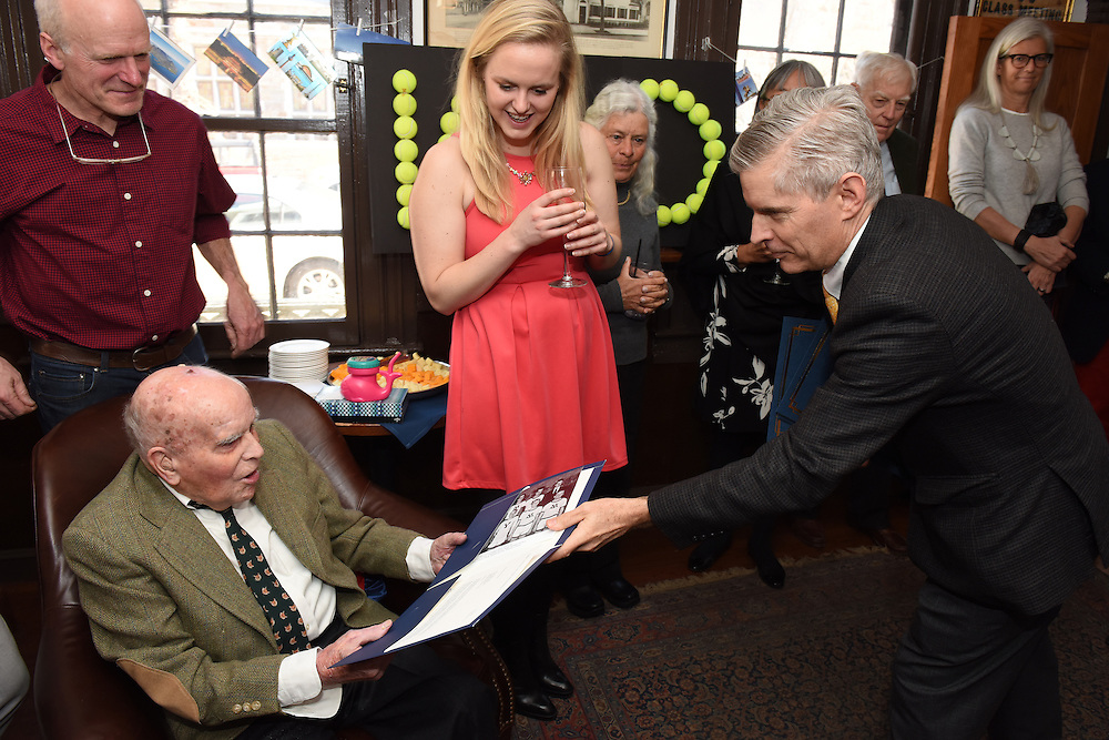 Mara Lavitt February 27, 2016<br /> The 100th birthday party for Joseph Carrere Fox at Mory's in New Haven.
