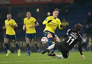 FODBOLD: Lasse Vigen (Brøndby IF) tackles af Erik Marxen (Randers FC) under kampen i Superligaen mellem Brøndby IF og Randers FC den 24. februar 2019 på Brøndby Stadion. Foto: Claus Birch.